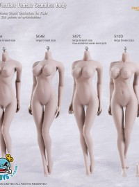 PHICEN S01A、S04B、S07C、S10D SUPER-FLEXIBLE FEMALE SEAMLESS BODY 無頭雕超可動鋼骨架包膠女素體-01