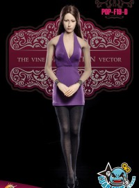 POPTOYS POP-F19-D LADIES SEXY LOW-CUT HALTER DRESS SUIT 性感低胸洋裝服裝配件組(D款-紫色)-02