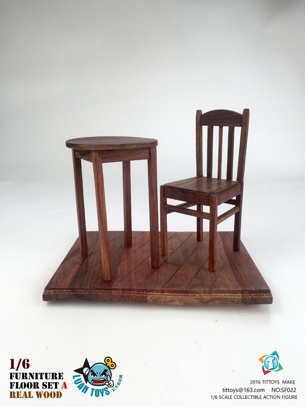 TITTOYS SF022 REAL WOOD FURNITURE & FLOOR SET A 實木桌椅 & 地板配件組(A款)-01