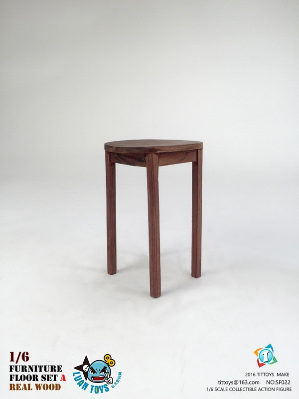 TITTOYS SF022 REAL WOOD FURNITURE & FLOOR SET A 實木桌椅 & 地板配件組(A款)-02