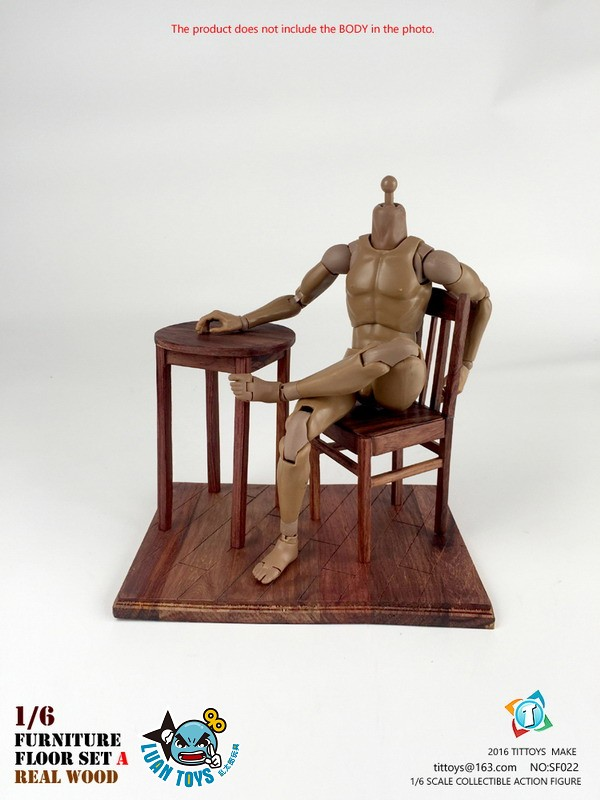 TITTOYS SF022 REAL WOOD FURNITURE & FLOOR SET A 實木桌椅 & 地板配件組(A款)-04