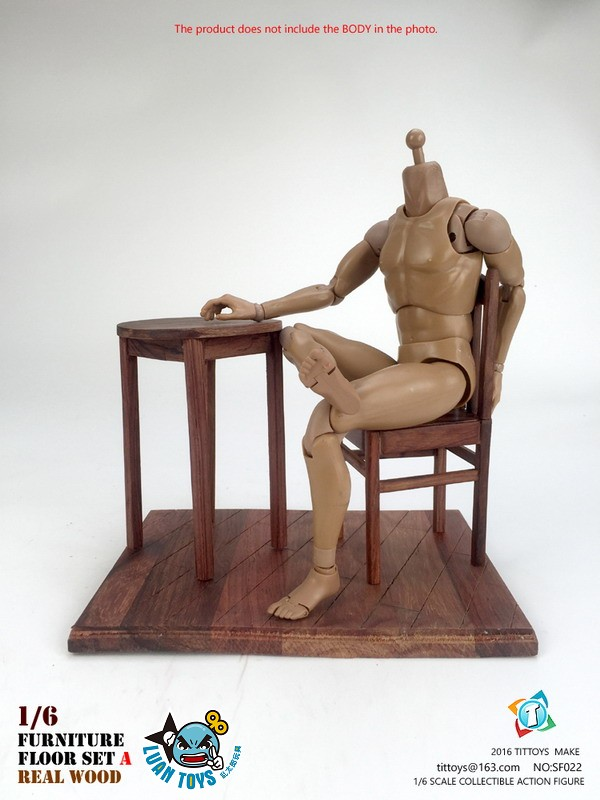 TITTOYS SF022 REAL WOOD FURNITURE & FLOOR SET A 實木桌椅 & 地板配件組(A款)-06