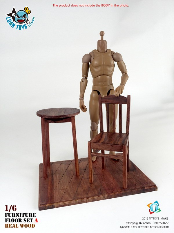 TITTOYS SF022 REAL WOOD FURNITURE & FLOOR SET A 實木桌椅 & 地板配件組(A款)-07